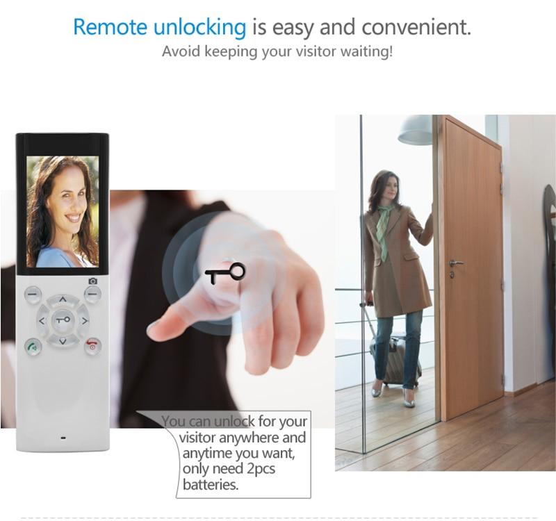 JERUAN 2.4G wireless remote control video door phone doorbell intercom system 2V1kit waterproof infrared night vision camera