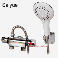 Whole Set Wall Mounted Two Handle Chrome Finish Mixing Valve Thermostatic Shower Mixer Faucet Bathroom Taps