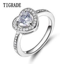 Trendy Luxury Women Eternity Silver Ring Finger Jewelry Wedding Band Heart Shape