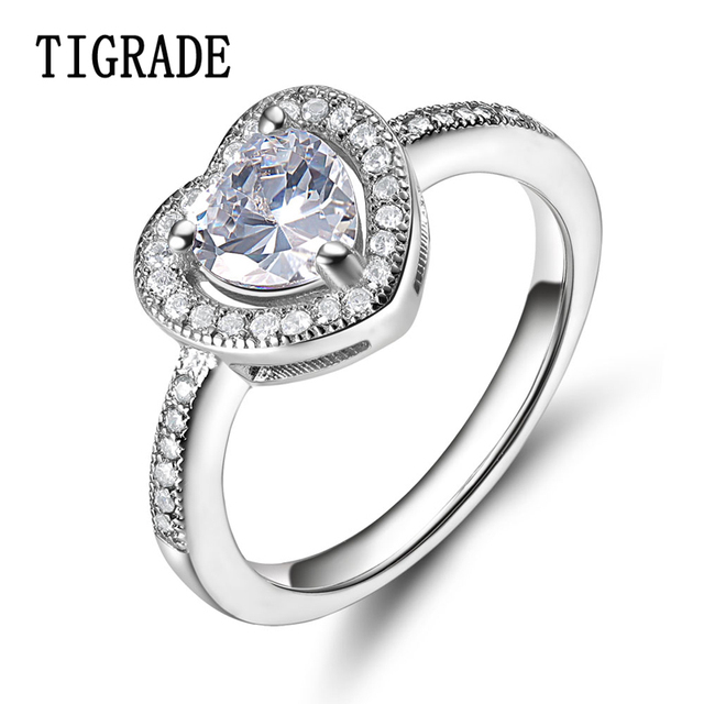 TIGRADE Luxury Heart Shape Cubic Zirconia Rings Women Eternity Wedding Band  Lady Sterling Silver Jewelry Female Promise Ring 8daa9c94bf