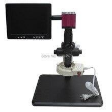 HD HDMI USB Industria Digital Cámara + Soporte de Ajuste Fino + 10X-200X Microscopio C-mount Lente + 56 LED luz + Monitor de $ number pulgadas