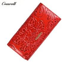 Cossroll женский кошелек 100% натуральная коровья кожа женские кошельки леди монета карман красный длинный женский клатч для женщин подарок