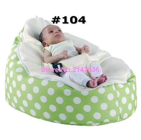 Green polka with blue / white / pink harness seat Designer hot-sale baby bean bag hot sale hot sale car seat belts certificate of design patent seat belt for pregnant women care belly belt drive maternity saf