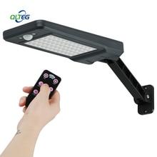 900LM שמש מנורת PIR Motion חיישן 60 LED קיר אור עם שלט רחוק עמיד למים שמש מופעל מנורת גינה חיצונית חצר