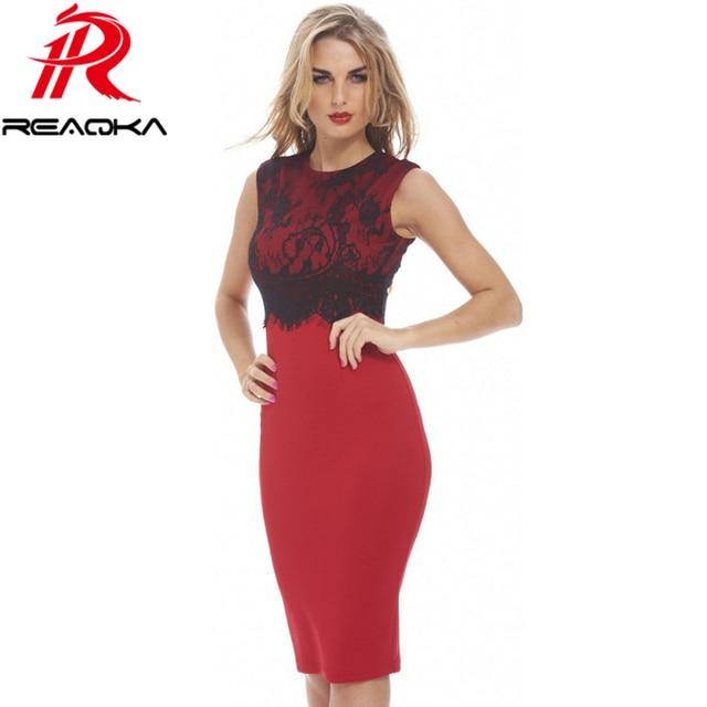 7b59875de1a Womens Sexy Dresses Party Night Club Dress Black Red Slim Top Selling  Sleeveless Lace Embroidery Work Elegant Big Size Dress XXL