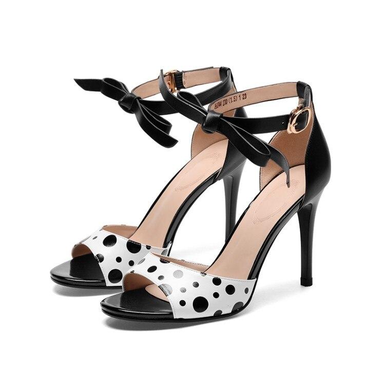MLJUESE 2019 women sandals Sheepskin Polka dot black Gladiator slingbacks open toe thin heel high heels beaches sandals party-in High Heels from Shoes    3