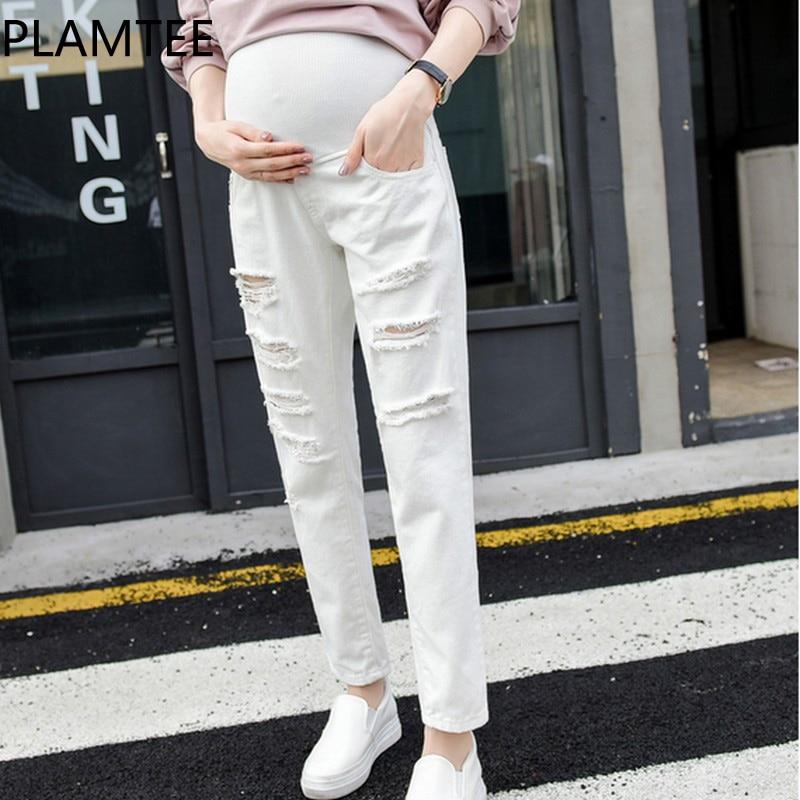 PLAMTEE Maternity Jeans Denim Casual Hole Pregnancy Clothes For Autumn Winter Pregnant Trousers Elastic Waist Premama Lady Jean