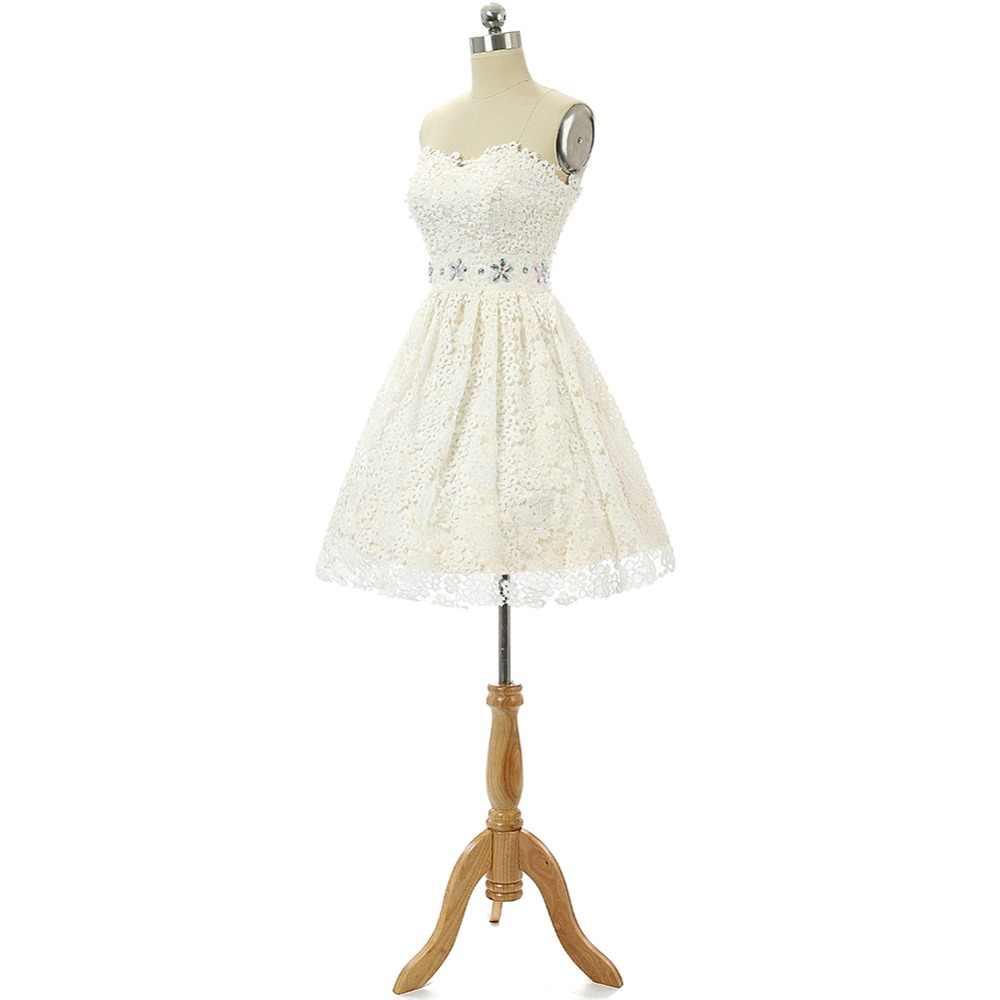 JaneVini 2019 מקסים שנהב תחרה קו קצר שמלות נשף מתוקה חרוזים ללא משענת נשף מפלגה מיני עבור בנות