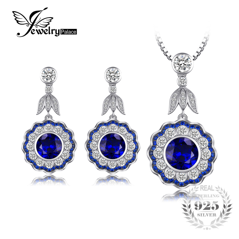 JewelryPalace Flower 13ct Created Sapphire Pendant Necklace Dangle Earrings 925 Sterling Silver 45cm Chain Vintage Jewery Sets все цены