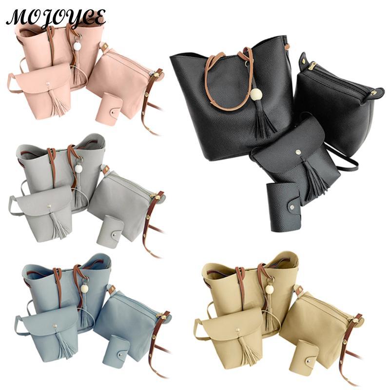 4pcs/Set Women Composite Bags Luxury Brand Women Tassel Shoulder Bag Soft Leather TopHandle Bags Ladies Tassel Tote Handbags coofit luxury composite bag set women