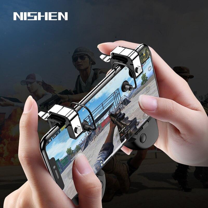 PUBG móvil Gamepad del regulador del juego gatillo objetivo botón L1R1 tirador Joystick para IPhone teléfono Android juego de Accesorios