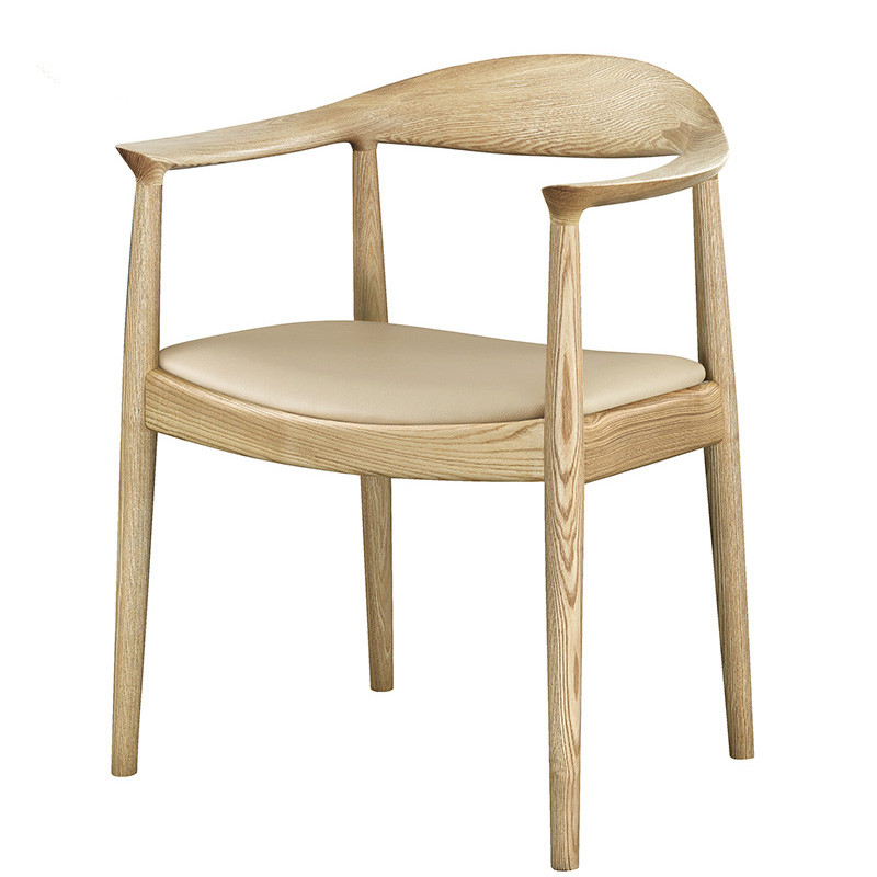 The Kennedy Chair With Real Leather Cushion Solid Ash Wood Dining