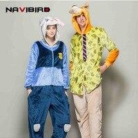 Animal Cartoon Long Sleeve Hooded Pajamas Set Fox And Rabbit Flannel Pyjamas Women Warm Winter Unicornio