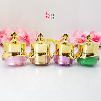 New 5g Luxury Crown acrylic cosmetic cream jar Small eye cream container Makeup face cream sample pot high quality