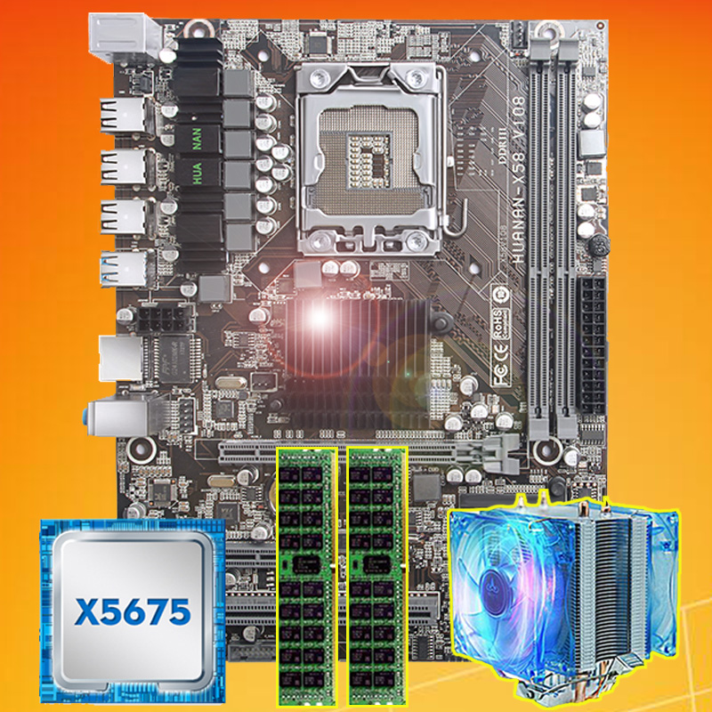 Brand motherboard on sale HUANAN ZHI X58 motherboard with CPU Intel Xeon X5675 3.06GHz with cooler 8G(2*4G) DDR3 REG ECC memory-in Motherboards from Computer & Office