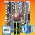 Marke motherboard auf verkauf HUANAN ZHI X58 motherboard mit CPU Intel Xeon X5675 3,06 GHz mit kühler 8G (2*4G) DDR3 REG ECC speicher