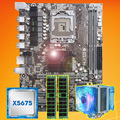 Merk moederbord op koop HUANAN ZHI X58 moederbord met CPU Intel Xeon X5675 3.06 GHz met cooler 8G (2*4G) DDR3 REG ECC geheugen