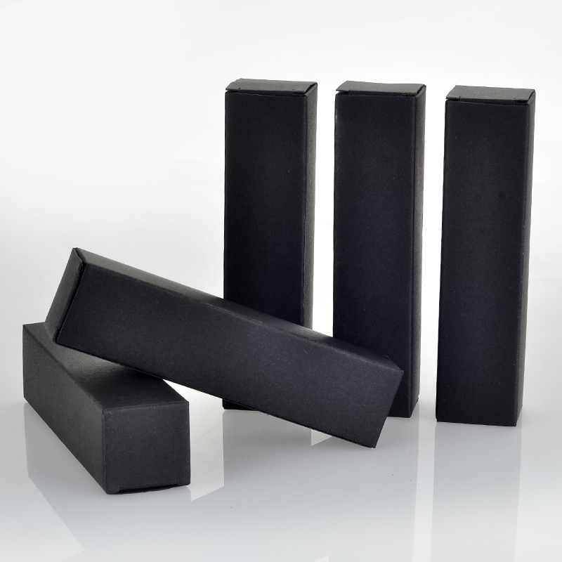 Wholesale 100 Pieces /Lot 25*25*105MM Black Paper Boxes For Perfume Packaging Only Box