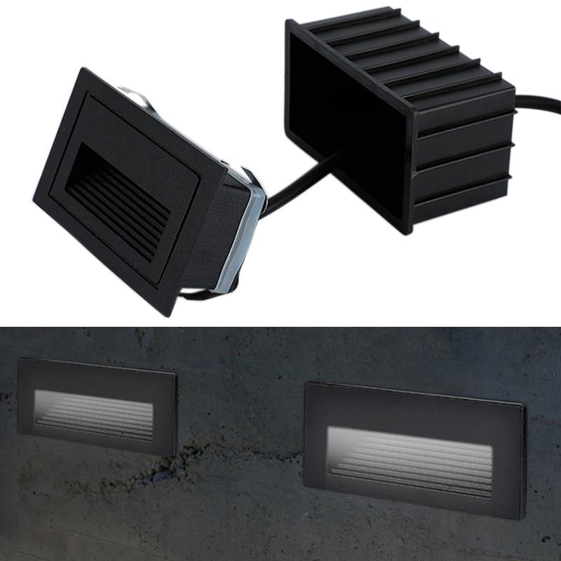 Outdoor LED Step Light Waterproof Stair Light Wall Embedded Underground Lamp Lighting Deck Footlights 85-265V IP65