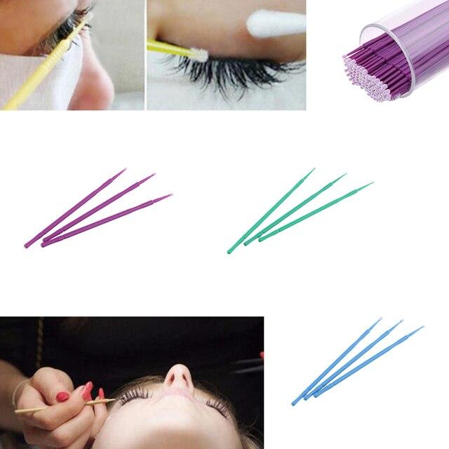 100Pcs Disposable Eyelash Extension Applicator Mascara Brush Glue Cleaning Stick Cotton Stick Makeup Tool Beauty False Eyelashes