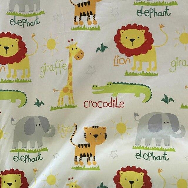 100% cotton twill cloth beige big cartoon animals world fabric for DIY crib bedding cushion apparel quilting handwork decor tela