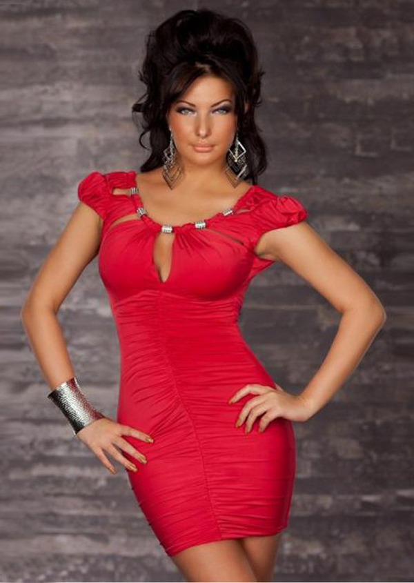 8ec4587719 US $10.99 |Hot Red Black Women Sexy Ruffles Clubwear With metallic  decoration Costumes Club Dress Wholesale Free Shipping-in Dresses from  Women's ...