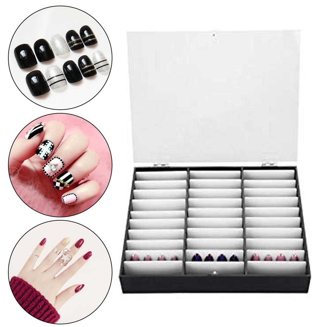 Organisateur de maquillage boîte de rangement faux ongles conseils boîte de rangement 30 compartiments Nail Art décoration conteneur faux ongles vitrine