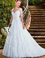 Don's Bridal 2016 A Line Wedding Dresses Long Sleeve V-neck Tulle Beaded Court Train Weeding Dress Casamento