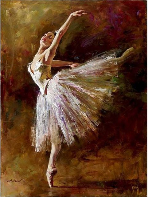 Handmade Painting Paintings Ballet Dancers Oil On Canvas Wall Decor Vertical Modern Abstract