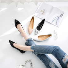 Ladies Shoes Black Pumps Patent Leather 3CM Low Heel Shoe Nude Office Shoes Elegant Women Wedding Party Shoes Big Size K-221