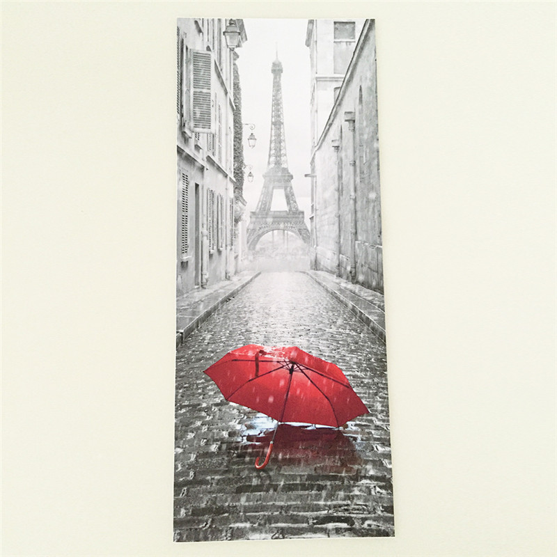 2017 New 3D Door Stickers 2PCS/Lot  Bedroom Wall Stickers Paris Eiffel Tower Waterproof Moisture Self-adhesive Door Stickers
