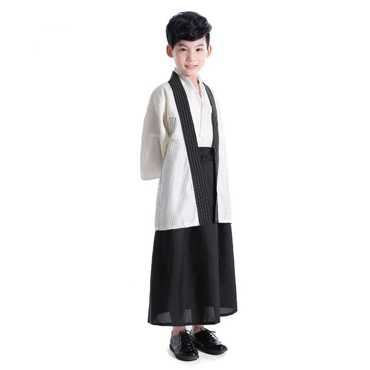 Beige Japanse Jongen Kimono Kind Warrior Traditionele Swordmen Yukata Kid Stage Prestaties Kleding Kinderen Cosplay Kostuum