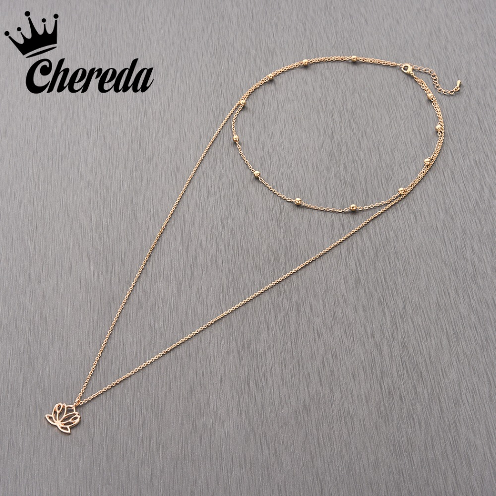Chereda New Fashion Flower Multi Layer Chokers For Women Classic Tassel Trendy Chocker Charm Pendant Fine Jewelry in Choker Necklaces from Jewelry Accessories