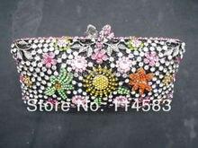 8208 MultiColor-C цветочный цветок леди мода свадебные ну вечеринку полый металлический вечер кошелек сумочка мешок клатч чехол