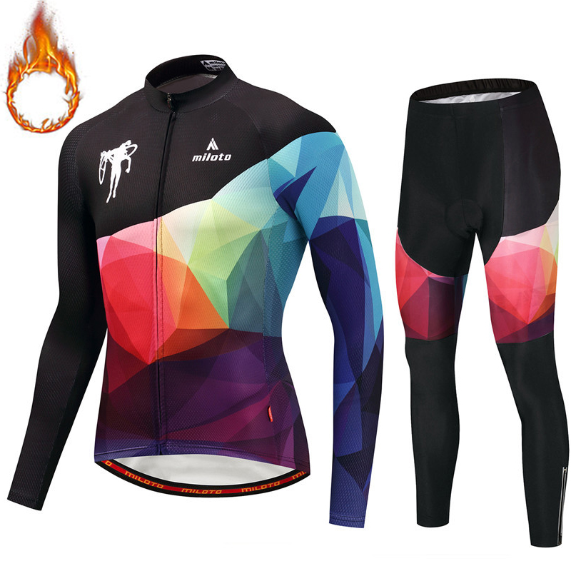Man Winter Warm Thermal Fleece Bicycle Jersey Kits Thick Road Track MTB Race Cut Cycling Jerseys