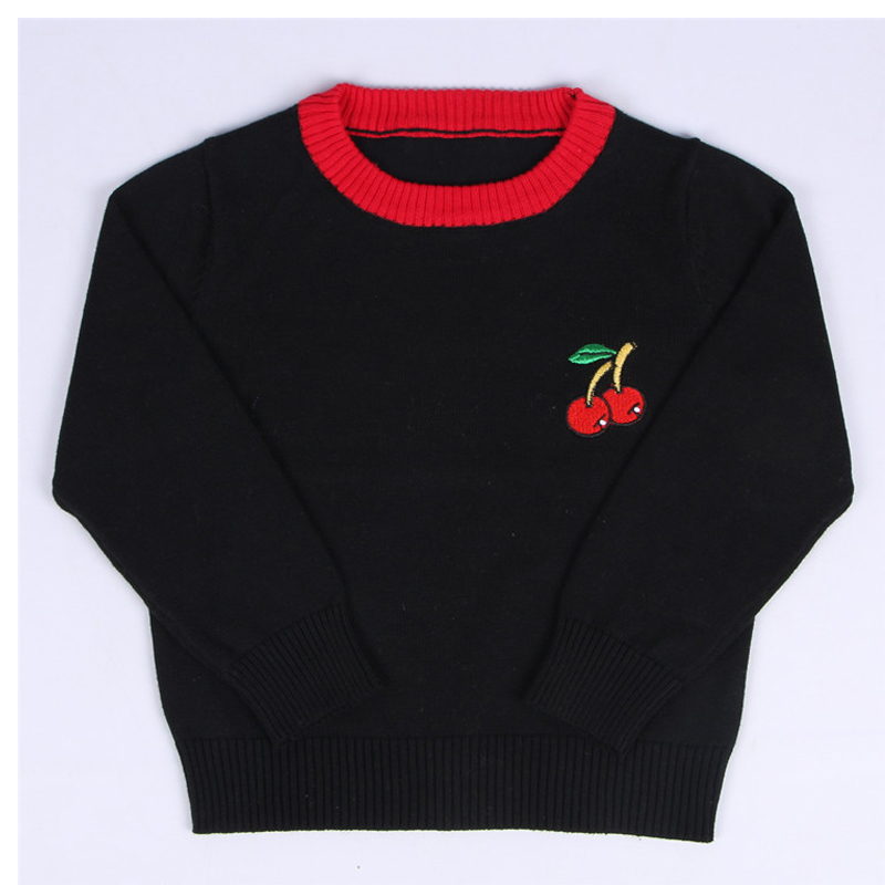 Cherries Boys Sweater Kids Clothes New Winter Baby Girls Sweater Embroidery Children Sweater Warm Long Sleeve For Girls Knitwear
