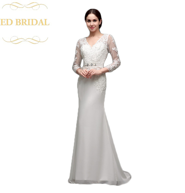 Illusion Long Sleeves Chiffon Mermaid Wedding Dress With Venice Lace Liques Sheer Back Bridal Gown Robe
