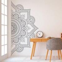 Половина мандалы настенные художественные наклейки-наклейка Мандала-бохо Декор-богемные наклейки-изголовье наклейка-Йога Студия Винил MT40