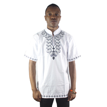 Africa White Ethnic Embroidery Men`s Dashiki Tops Mandarin Neck Folk Shirt for Wedding Wearing