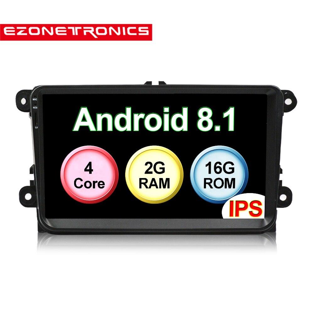 Autoradio Auto Android8.1 IPS écran voiture Audio lecteur GPS Radio pour VW GOLF 6 Polo Bora JETTA B6 PASSAT Tiguan SKODA OCTAVIA Bluetooth