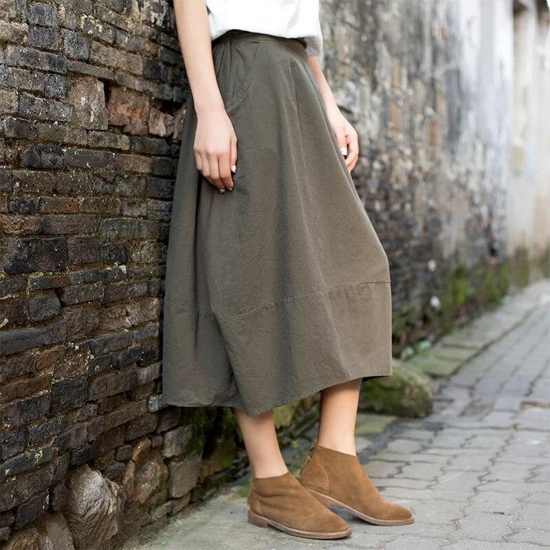 Japan Harajuku Mori Girl Cotton and Linen Loose Waist Pure Color Skirt Female Ethnic Vintage Long Lantern Skirt Women Clothing