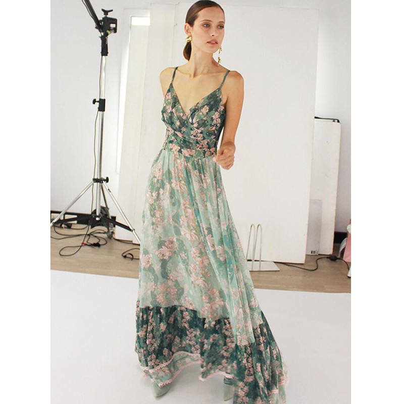2019 spring summer women's dress sexy sling deep V-neck bohemian printed Long Beach Dress