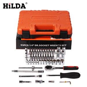Image 2 - HILDA Juego de herramientas de reparación de automóviles, juego de herramientas combinadas con llave, cabeza de lote, trinquete, llave de vaso, destornillador, juego de enchufes, 53 Uds.