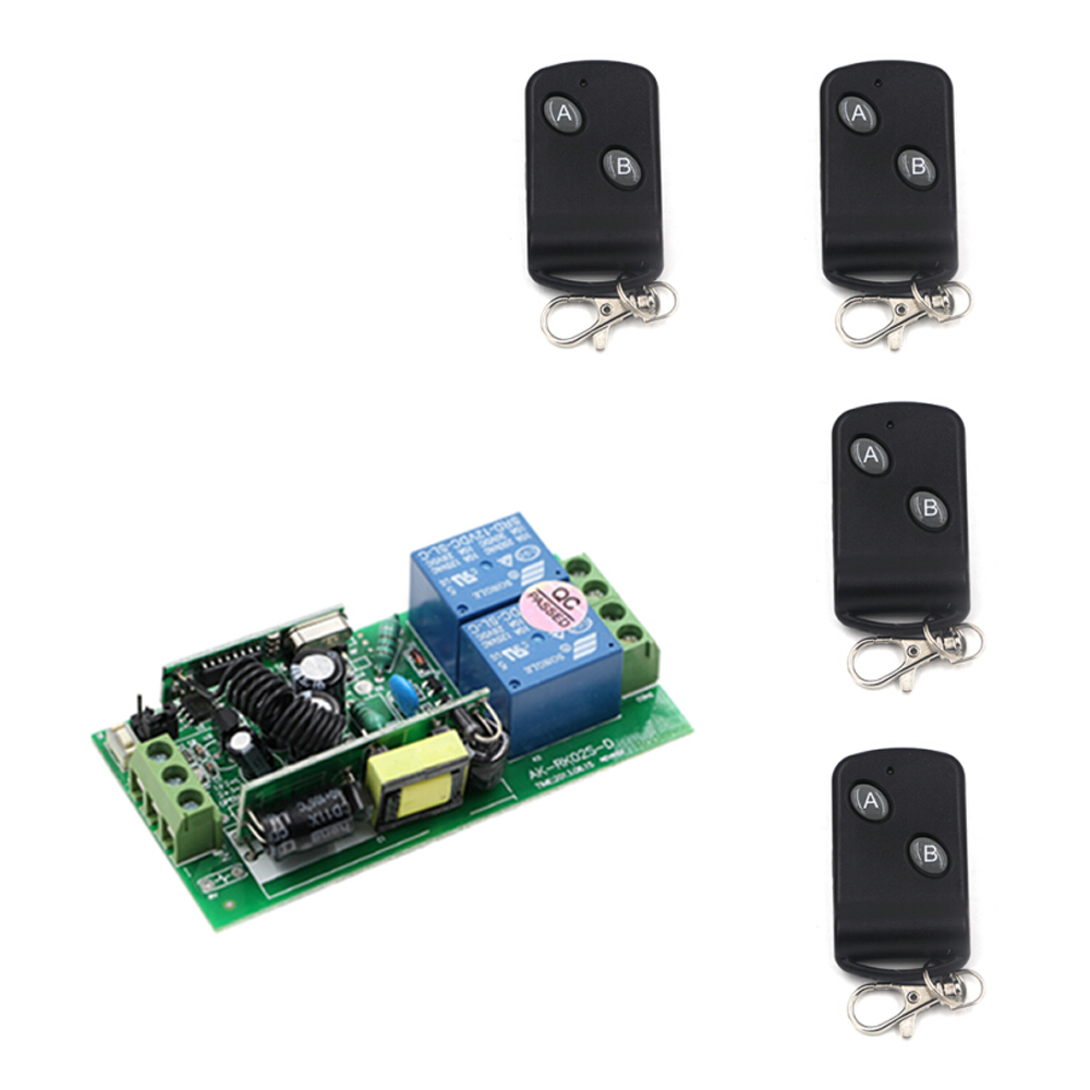 AC 85V 110V 220V 250 V 10A 2CH RF Wireless Remote Control Switch System Receiver +4 Transmitter Learning LED Home Switch System new restaurant equipment wireless buzzer calling system 25pcs table bell with 4 waiter pager receiver