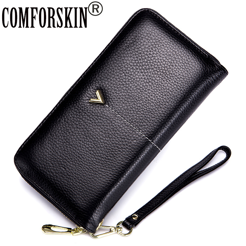 COMFORSKIN New Arrivals Premium 100% Genuine Leather Organizer Wallets With Interior Mobile Pocket Large Capacity Clutch Wallets