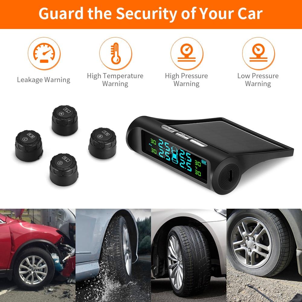 4 External Sensors Solar Wireless TPMS Car Tire Pressure LCD Monitoring System