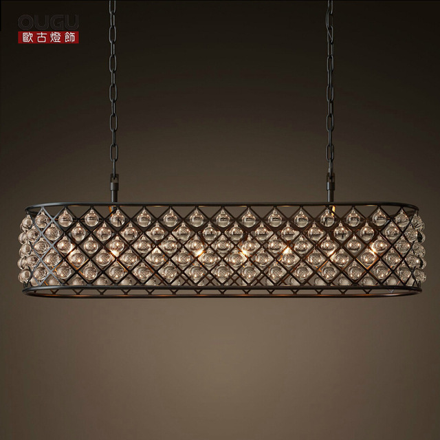 Nordic American Crystal Light Living Room Restaurant Bar Cafe Rectangular Oval Chandelier Lighting