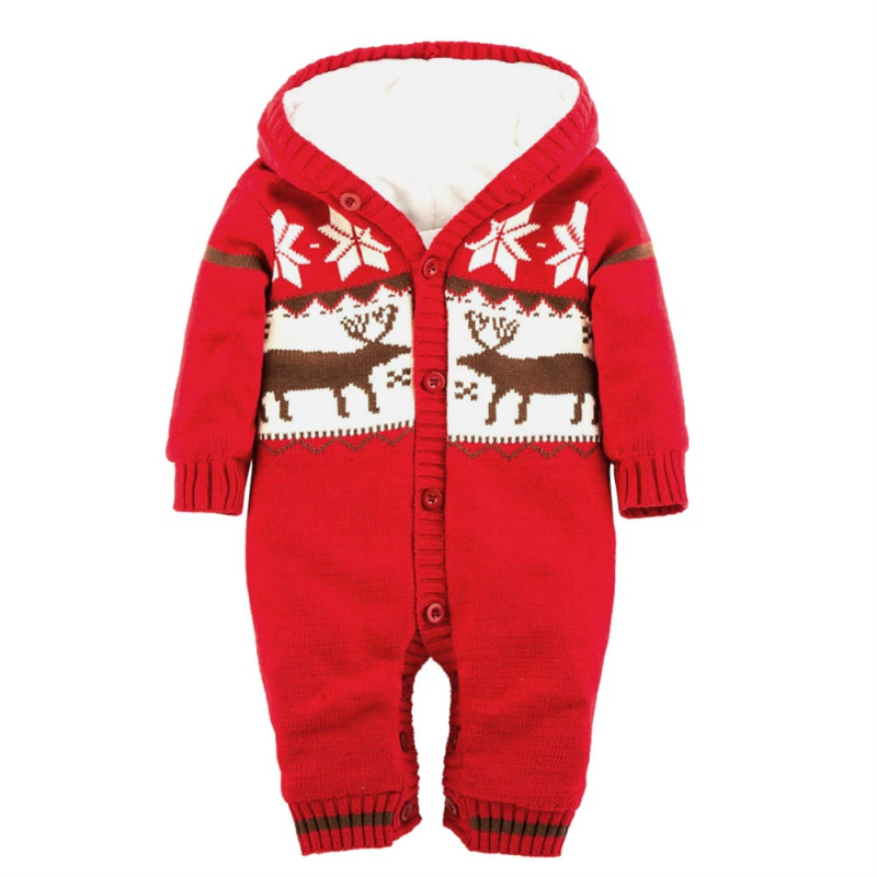 Christmas Deer Printed Hooded Outwear Baby Warm Thick Winter Knitted Sweater Rompers Red Wool Newborn Jumpsuit Climbing Clothes baby rompers winter newborn boys girls clothes toddler christmas warm thick costume roupa infant jumpsuits hooded outwear red