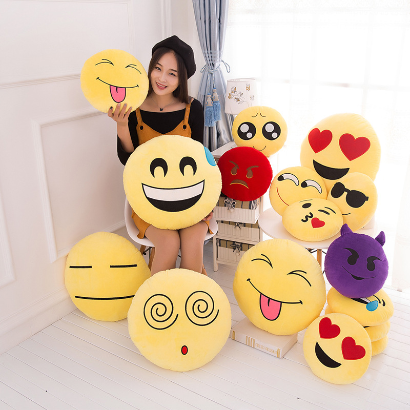 VILEAD Cute Soft Smiley Emoji Bantal Funny Emoticon Cushion Stuffed Toy Plush Toy Seat Dekoratif Membuang Bantal Girlfriend Gift