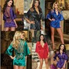 Europe And America Women Nightdress Lace Sexy Lingerie Hot Set Satin Halter Nightgown Plus 5 Color